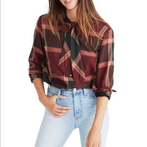 Madewell Plaid Tie Neck Button Down Blouse